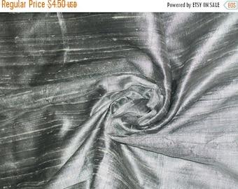 15% Off Fat quarter of silver color 100 percent pure  dupioni silk