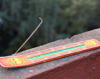 Wooden Double Sun Incense Holder-Wooden Boat Incense Burner-Hand Painted and Handmade In Nepal