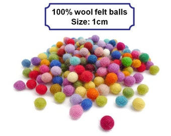 Handmade felt balls pom pom balls wool felt balls bead small arts and crafts 10mm mix of colours 100 per cent