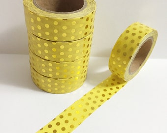 Bright Pastel Yellow with Metallic Gold Foil Polka Dot Washi Tape 11 yards 10 meters 15mm