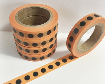 SALE Bright Orange Skinny Washi with Large Black Dots Skinny Washi Tape 11 yards 10 meters 10mm