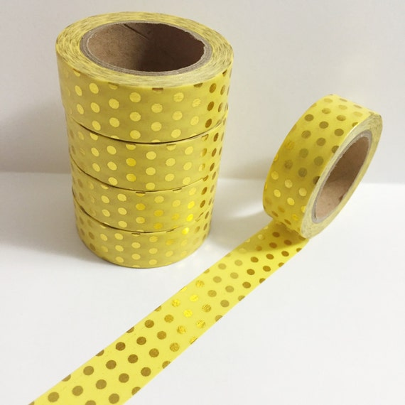 Bright Pastel Yellow With Metallic Gold Foil Polka Dot Washi Tape 11 Yards 10 Meters 15mm From SilentPoetryArts On Etsy Studio
