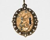 Gustav Klimt, Tree Of Life Necklace, Art Nouveau, Fine Art Jewelry, Oval Pendant