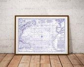 Atlantic Ocean map (1755) download, blue antique map,  scan of an old original map of the world, instant download high resolution jpg