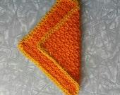 Crochet cotton dishcloth/washcloth, orange yellow, Home Decor, eco-friendly dishcloth