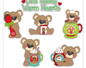 Cold Noses Warm Hearts Bear 1 Clipart (Digital Download)