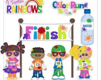 Color Fun Run 1 Clipart (Digital Zip Download)