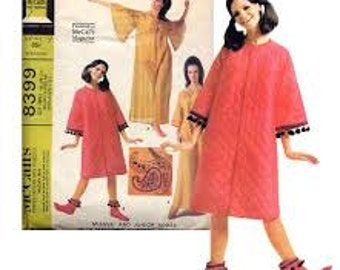 1960s Mod Robe with Bell Sleeves & Boots Slippers- Vintage Pattern McCall's 8399 - Size Small