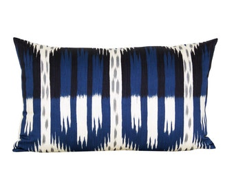 Schumacher Bukhara Ikat lumbar pillow cover in Indigo
