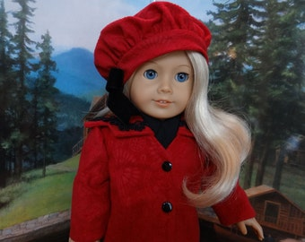 Edwardian Coat and Beret in red  for American Girl Rebecca, Samantha, Nellie or similar 18 inch doll