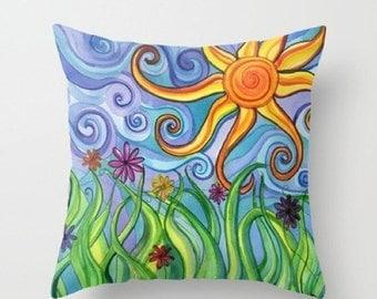 DELAYED SHIPPING thru 8/3 Throw Pillow printed with Sunny Skies Original Artwork