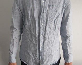 Blue Linen Collared Button Down