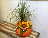 ON SALE Thanksgiving Centerpiece Fall Pumpkin Centerpiece Autumn Sunflower Table Centerpiece Fall Floral Arrangement Rustic Fall Centerpiece