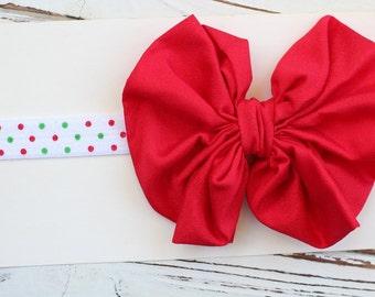 Christmas Bow Headband, Messy Bow Headband, Red Bow Headband - Baby Christmas Bow