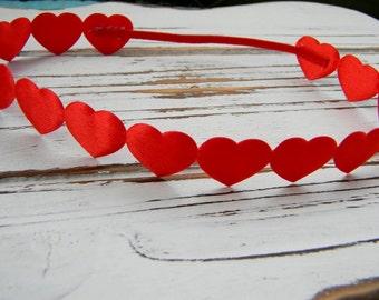 Red Heart Halo Headband, Red Heart Headband, Newborn Headband, Halo Heart Headband, Valentines Headband