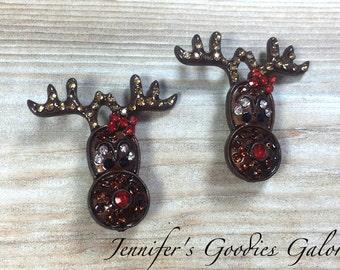 Rhinestone Slider Reindeer, Christmas Rhinestone Slider, Rhinestone Button, Set of 2, Metal Rhinestone, Wholesale, Christmas, Ribbon Sliders