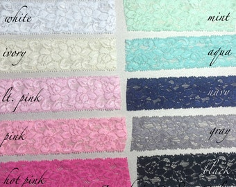 """1.5"""" Elastic Lace, Lace by the yard, Stretch Lace, FOE Elastic, Lace Trim, Elastic Headband, Stretch Elastic, Headband Lace, Lace Fabric"""