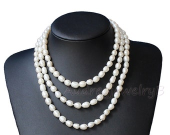 Long pearl necklaces,Freshwater pearl necklaces,Ivory pearl necklaces,Pearl jewelry,Wedding necklace pearl,girl friend gift