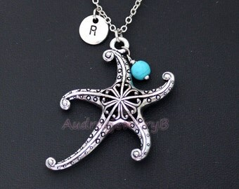 Personalized Initial Necklace  starfish Pearl, turquoise Necklace Set,Boyfriend GirlFriend gift, Christmas gifts,Couples gift friends gifts