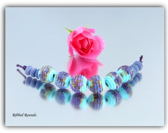 Lampwork Ribbed Purple Rounds