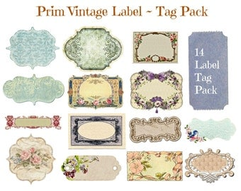 Prim Labels, Prim Tags, Vintage Prim Label, Vintage Prim Tag, Labels & Tags 14 Pack, Label Template, Transparent Background