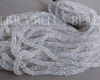 """7"""" half strand AAA RAINBOW MOONSTONE faceted gem stone rondelle beads 3.5mm - 4.5mm"""