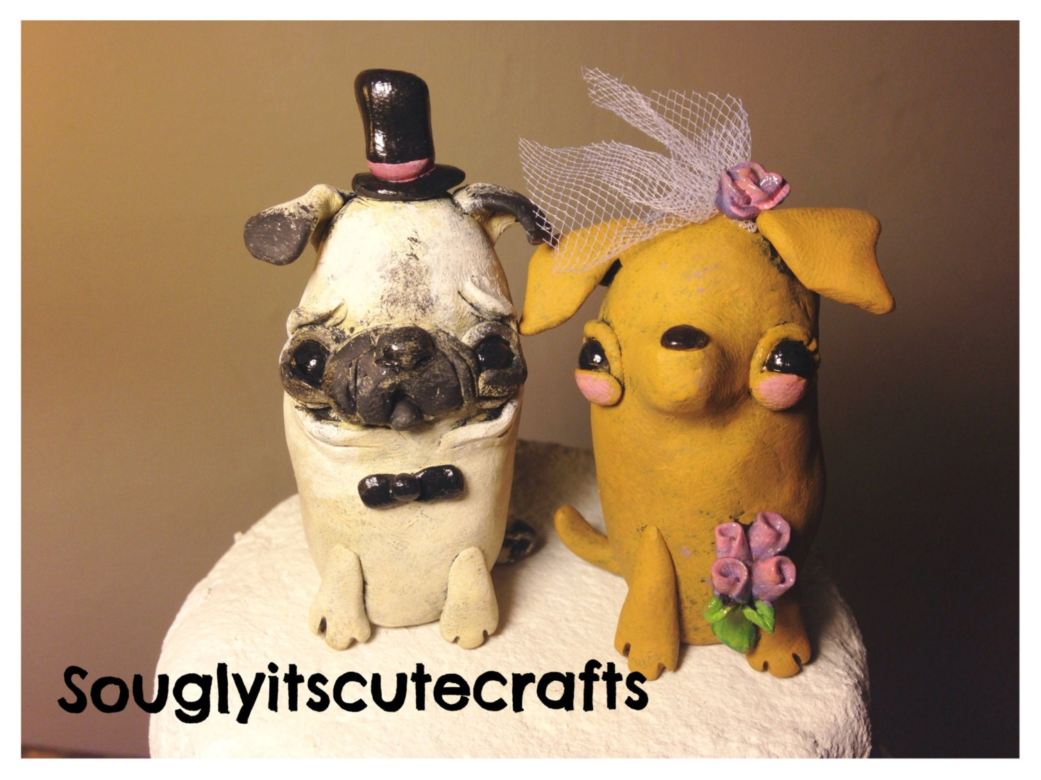 Dog Wedding Cake Toppers Clay Figurines by SoUglyitsCuteCrafts