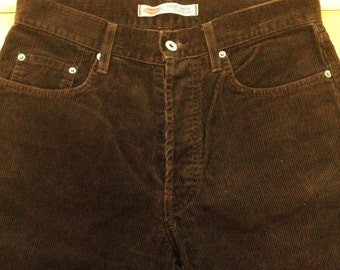 French Teddy Smith Men Pants - Timeless Chocolate Brown Corduroy & Button Fly - MADE IN FRANCE - New - M - W : 31