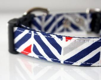 Herringbone Dog Collar - navy, gray, red