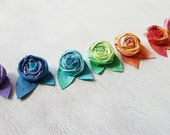 Rainbow Ombre Tie Dye Flower Clippies