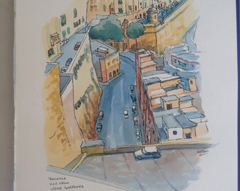 Valletta st. Paul Street, Malta Original watercolour