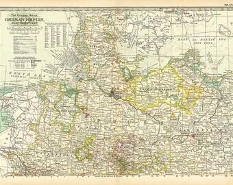 GERMAN EMPIRE Northern part 1897 map - Instant digital downloadable file