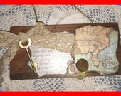 Reserved for BOSS Ladies Team Giveaway WALL HANGING Uncharted Florida Treasure Map Vintage Lace Golden Skeleton Key Pirates Booty