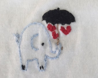 Onesie 100% Cotton Hand Embroidered  Elephant Hearts Umbrella White Baby Bodysuit with Embroidery Floss Gerber 0-3 months