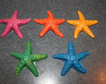 Recycled Crayons. Fish Crayons. Kids Crayons. Crayons. Party Favors. Starfish Crayons. Starfish. Set of 5 Crayons. Rainbow Crayons.