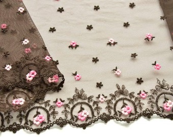 Brown Pink Lace Trim, Chesnut Brown Lace, Lingerie, Lace Decor, Pink and Brown Roses Trim, Dolls, Professional Costume
