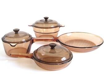 Corning Vision Cookware Saucepan Double Boiler Insert Corningware Amber Visions v-20-b