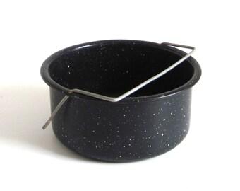 """Enamelware Colander Steamer Vintage Splatterware Cookware Insert 7"""" Vintage Food Photography Prop Pots Pans"""