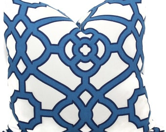 French Blue Trellis Indoor Outdoor Decorative Pillow Cover, 18x18, 20x20 or 22x22, accent pillow, throw pillow