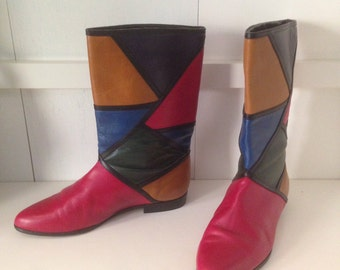 Vintage 1980's Mondrian style leather boots