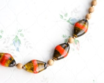 Orange Stripes Necklace - Ceramic Beads and brass chain