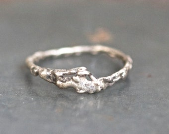 Primitive Sterling Silver Ring - Size 6.5 - Abstract design