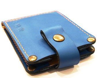 Wallet with Money Clip in blue cowhide with two interior pockets for the cards sleeve card holder business cards ID card cash free initials