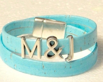 Monogram, Initials, Personalized, Portuguese Cork Wrap Bracelet, Whirly Wrap, Wedding, Anniversary, soft baby blue, secure magnet