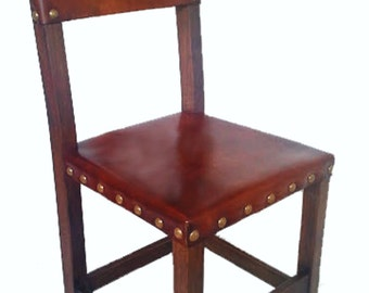 LEATHER DINNING CHAIR,  brown handmade classic leather dinning chair.