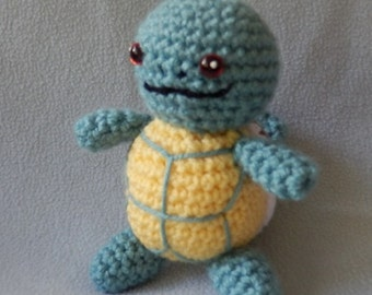 Made to order, Hand crocheted Pokemon Like Squirtle Turtle Amigurumi Doll