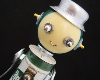 Mr. Herb Ox Bot - found object robot sculpture assemblage by Cheri Kudja with Bitti Bots