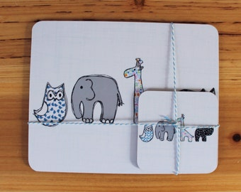 Childrens Placemat & Coaster Set - childrens tableware - kids placemats -cute placemats - new baby gift - christening gift - nursery decor
