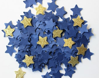 Midnight Rendezvous - Star Confetti - Dark Blue Gold - Starry Night Wedding - Bridal Shower