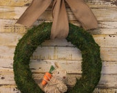 Bunny Wreath - Burlap Wreath - Easter Wreath - Moss Wreath